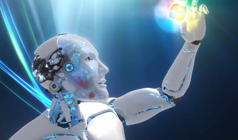обои, робот, windows, logo, взгляд, рука, фото