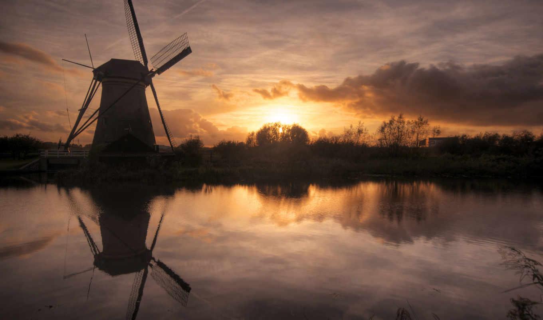 небо, солнце, мельница, река, облака, закат, картинка,