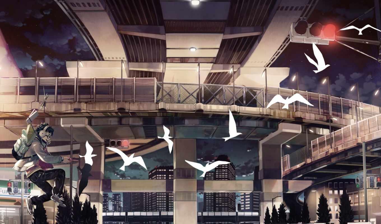 anime, девушки, город, широкоформатные, картинка, ночь, парень, девушка, headphones, авиация,