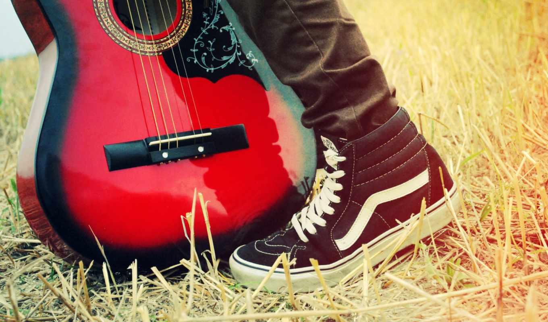 музыка, кеды, гитара, трава, струны, солома, foot,