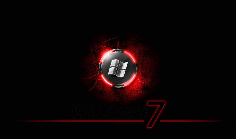 windows, Se7en, лого, светодиод, красный, чёрный