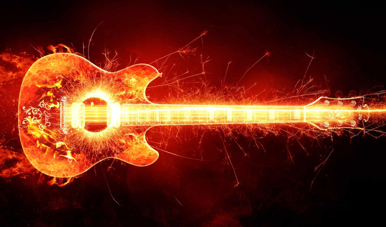 гитара, горящая, пламя,