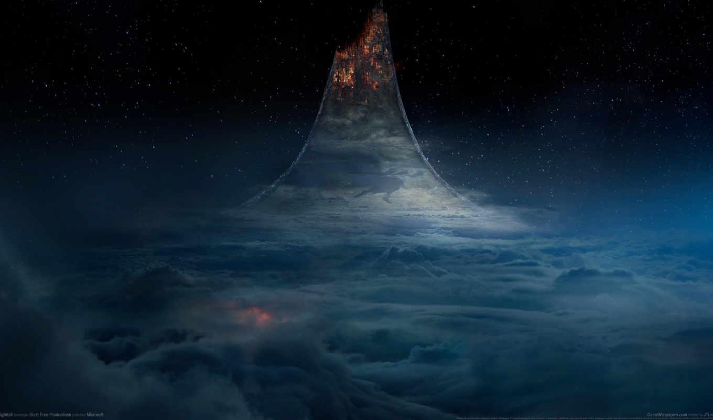 halo, nightfall, ринг, planet, game, oblaka,