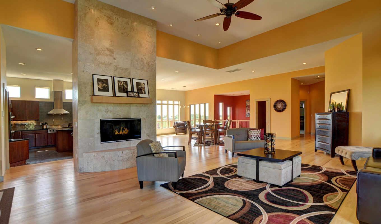 дизайн, интерьер, обоях, выпуск, гостиная, room, окна,