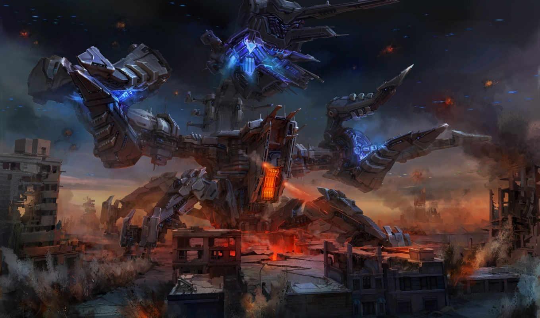 best, pack, оружие, artwork, робот, город, меха, выпуски, выстрелы, руины, gb,