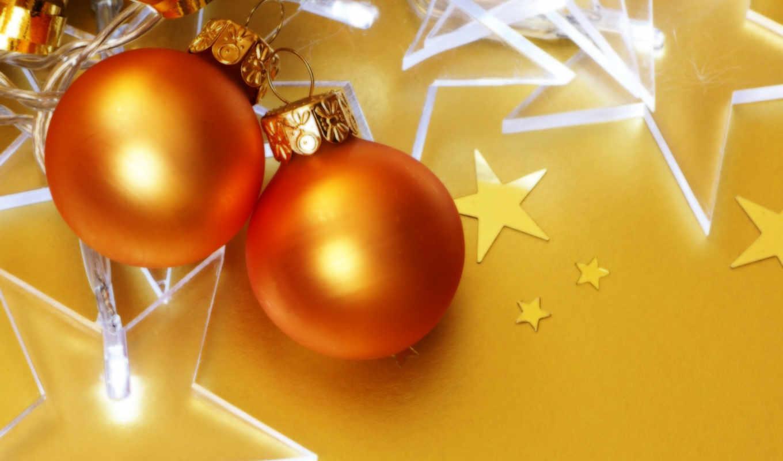 christmas, ball, золото, нового, года, шары, desktop, views,