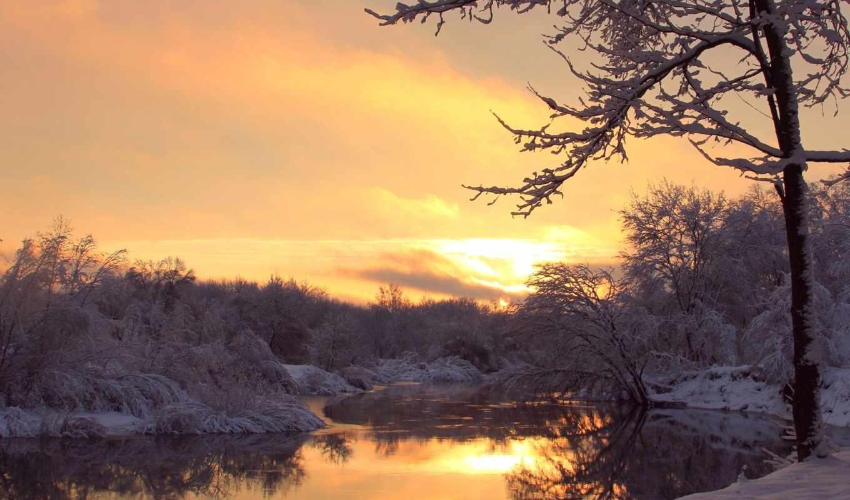 иней, деревья, река, вечер, закат, зима,