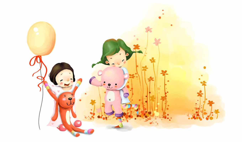 нарисованные, дети, девочки, игрушки, шарик, цветы, радость, заяц, медведь