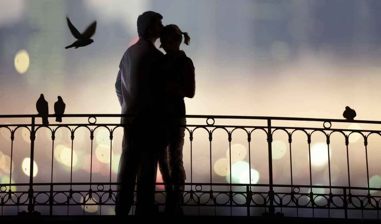 он и она, мост, голуби, силуэт, огни