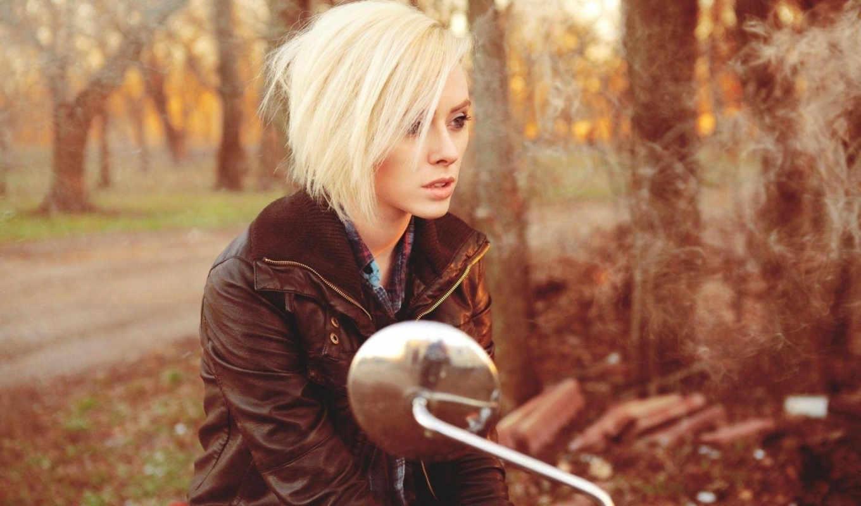 devushka, красивая, мотоцикле, devushki, лесу,