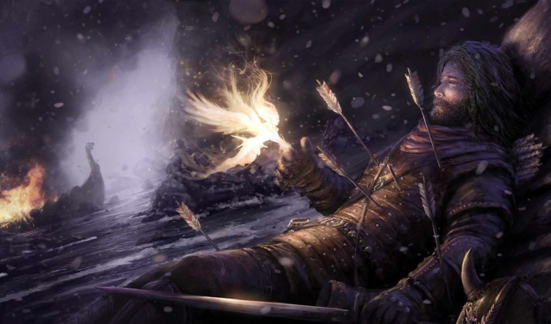 фея, воин, девушка, взгляд, стрелы, платье, campanella, нравится, shukufuku, okon, marek,
