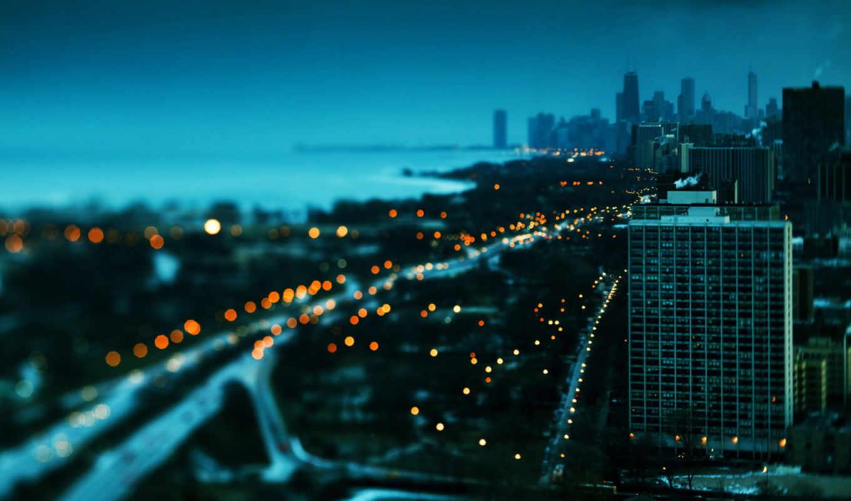 закат, chicago, winter, здания, america, usa, небоскребы,
