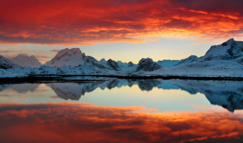 закат, red, озеро, природа, free, desktop,