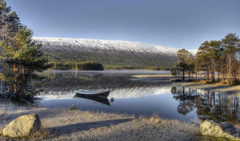 hdr, landscape, норвегия, природа, река, лодка, lesja, картинка,
