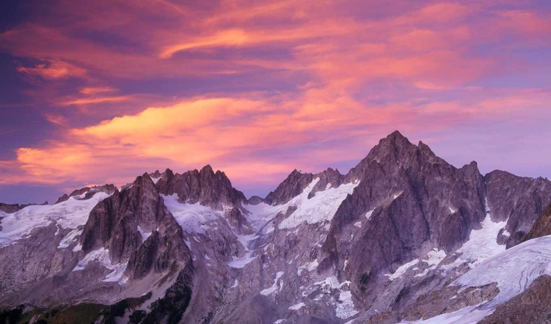 горы, everest, горах, winter, банка, года, закат, time, небо, вершины,