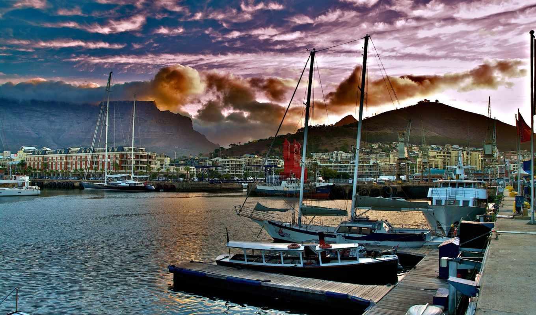 африка, desktop, south, лодка, город, del, ciudad, cabo,