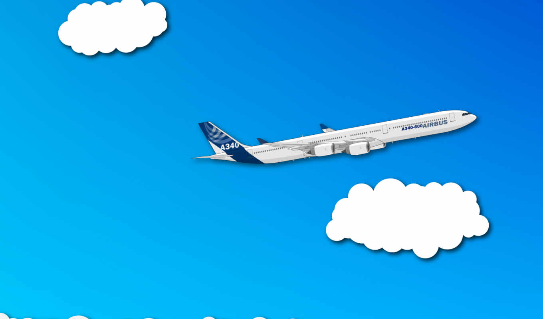 минимализм, самолет, облака, смотрите,