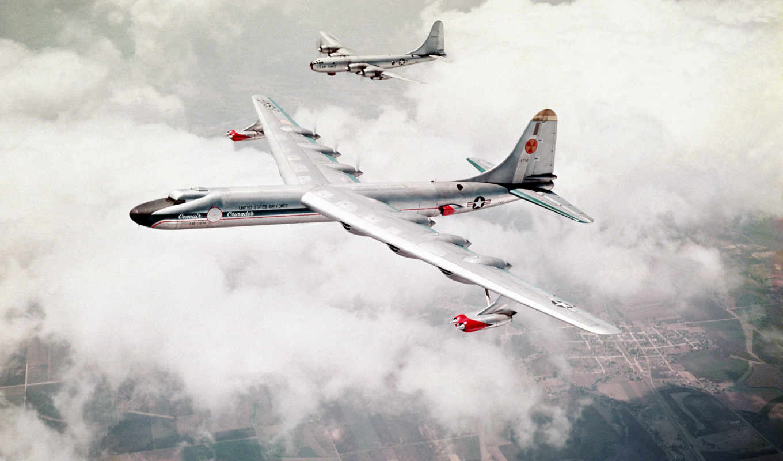 небо, земля, два, самолёта, бомбардировщики, nb, поля, облака, convair, usaf, wallpaper, aircraft, clouds,
