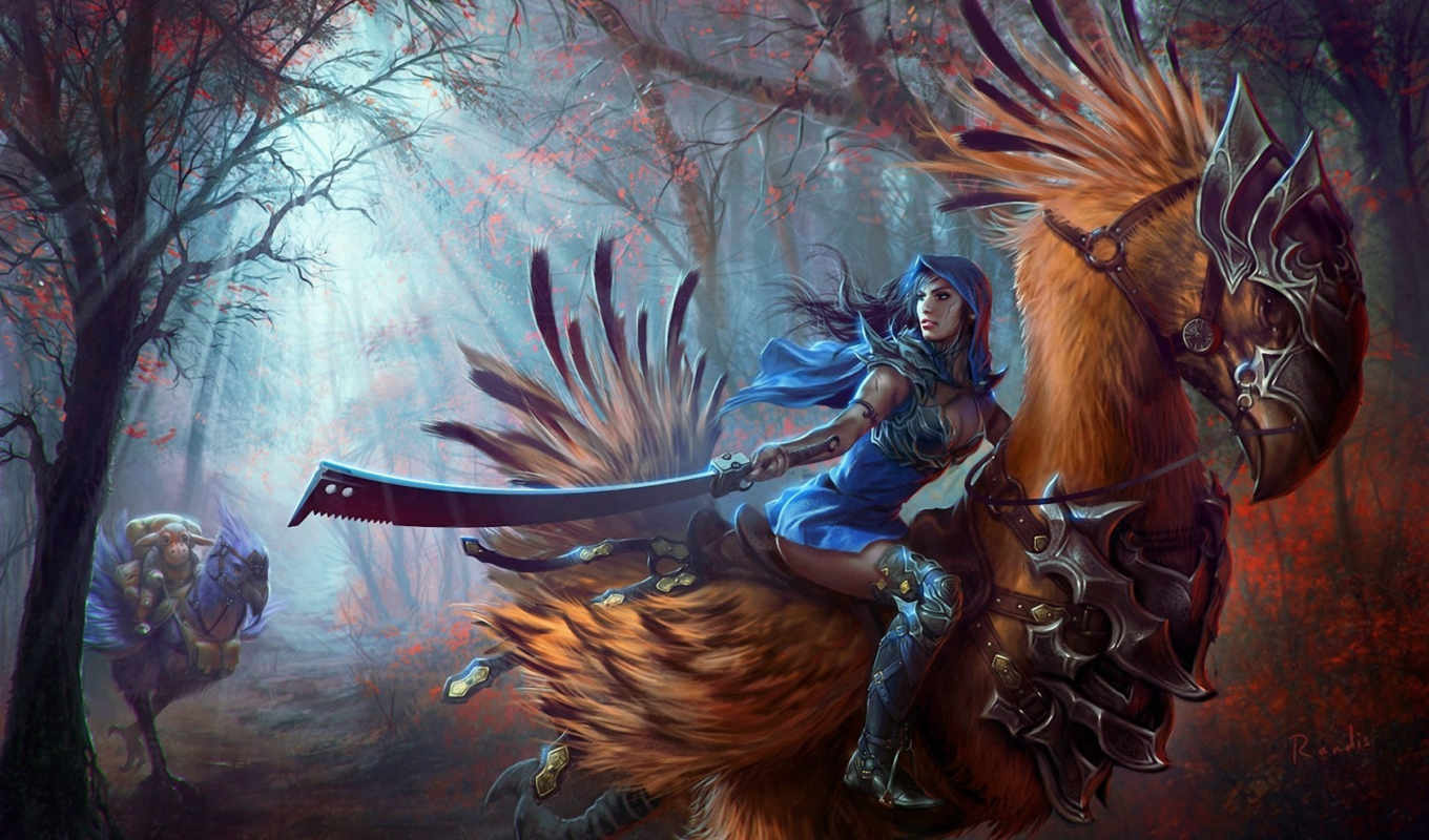 fantasy, art, final, warriors, weapons, chocobo, women, forest, фэнтези, женщин, оружие, воины,