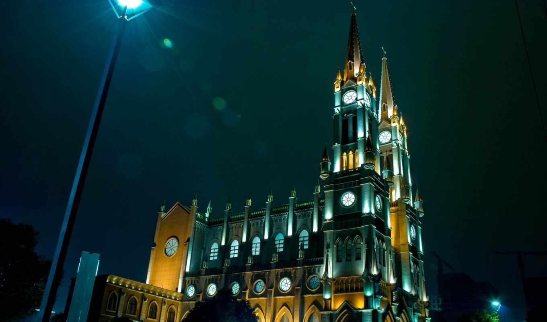 здание, огни, ночь, город, фонарь,