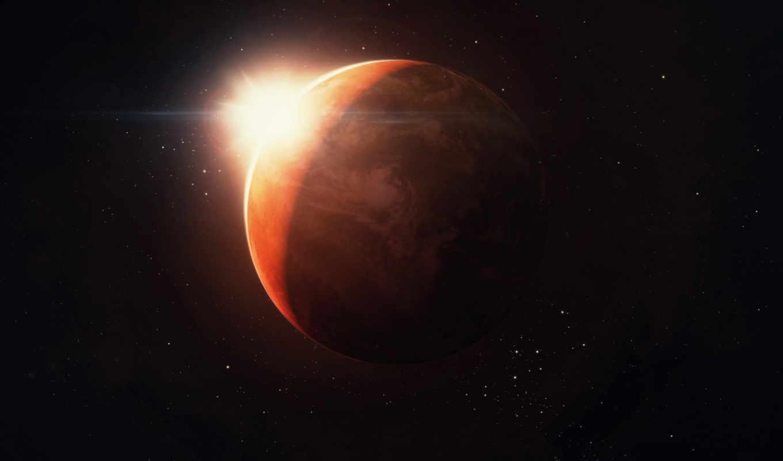планета, солнце, звезды, космос, марс, рендеринг,