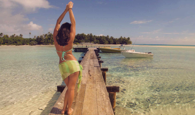 море, океан, природа, девушка, вода, берег, пейзаж,