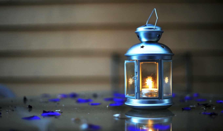 фонари, свечи, крупным, планом, ночь, огонь,