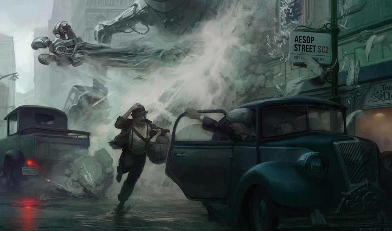 art, фантастика, город, люди, robot, monster, полет,