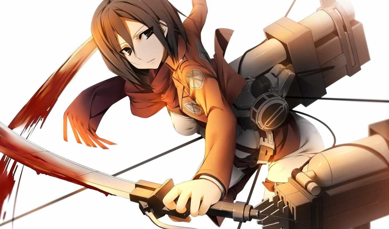 attack, titan, mikasa, ackerman, shingeki, anime, kyojin, изображение,
