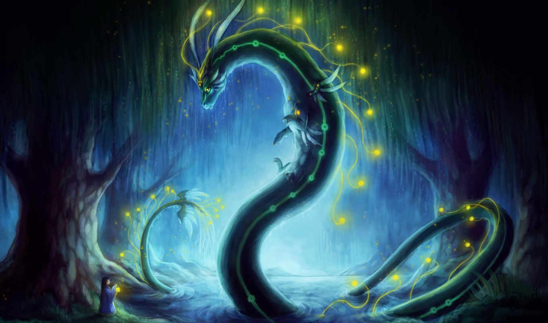 дракон, драконы, девушка, мира, фантастики, высоком, water, назад,