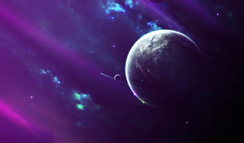 звезды, туманность, планета, спутники, свет, space, картинка, картинку, planets, кнопкой, cпутники, spaceships, мыши, правой, планеты,