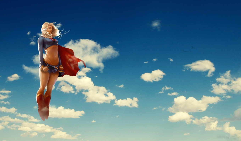 supergirl, girl, coloring, super,, супердевушка, clouds, girls, comics,
