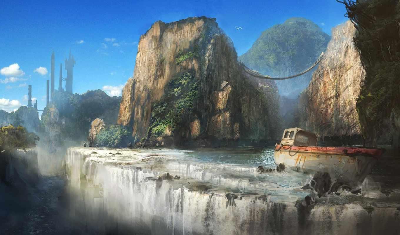 горы, обрыв, фэнтези, взгляд, cliff, взяли, водопад, категории, да,