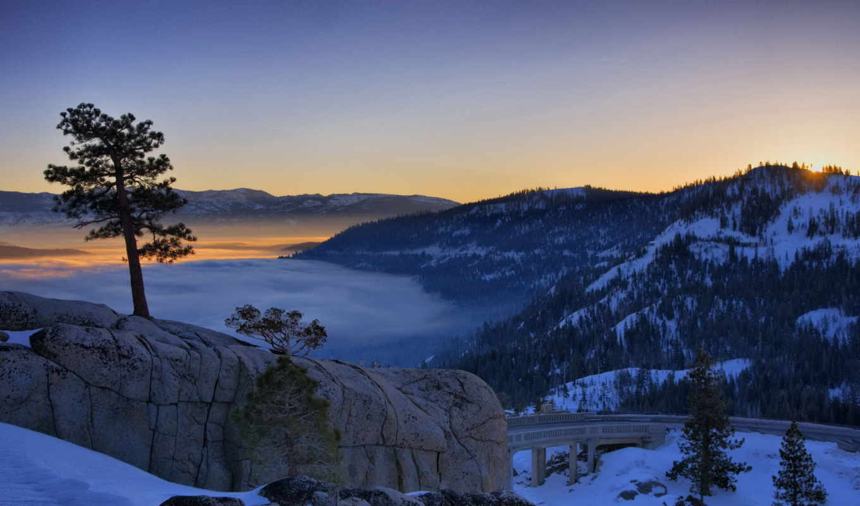 ,обои, природа, wallpapers, закат, горы, сосна