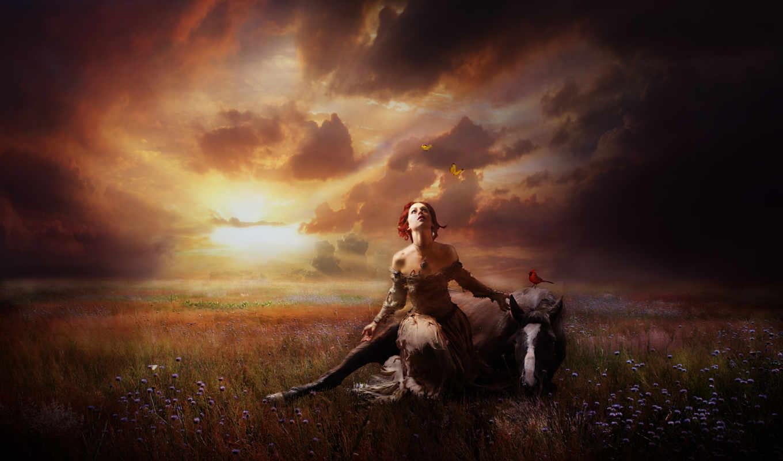 сайте, лошадь, закат, девушка, фентази, всадник, приколы, fun,