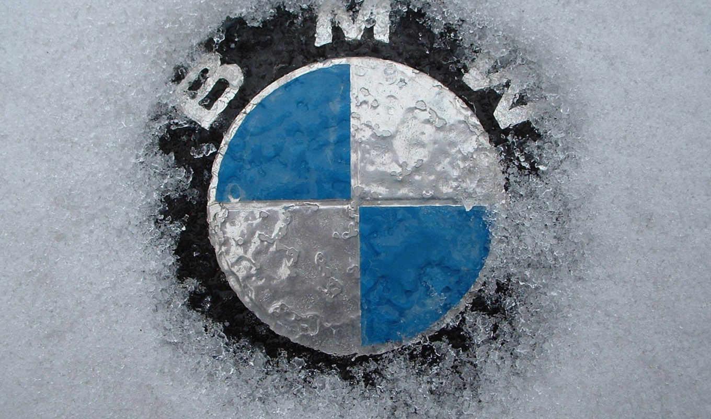 bmw, значок, снег, бмв,
