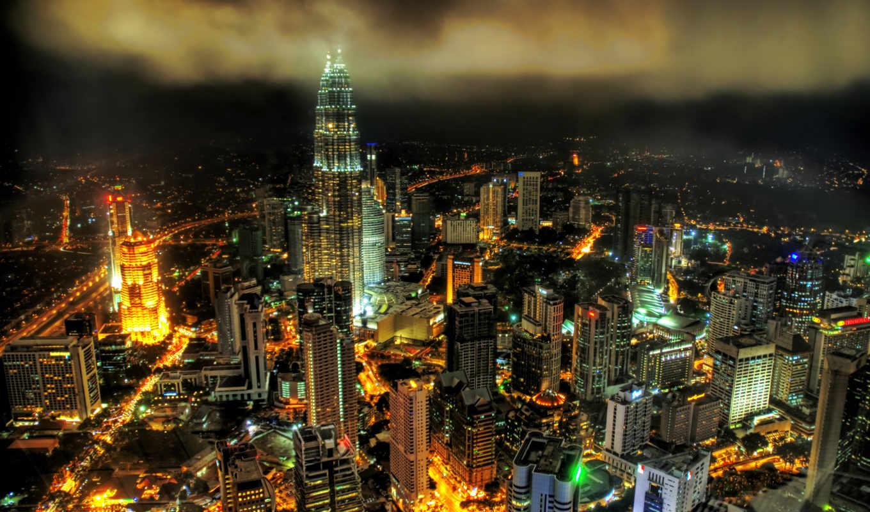 мегаполис, malaysia, lumpur, ночь, огни, виды, kuala, ночных, небоскребы, азия,