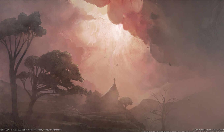туман, рисунок, деревя, church,