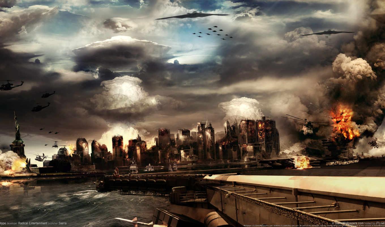war, фантастика, world, игры, широкоформатные, уничтожение, года, под, третья,