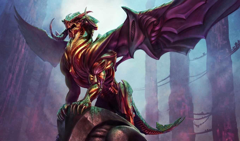 арт, демоны, обитатели, иных, миров, стива, аргайла, лкна, дракон, мост герои, камни, крылья,