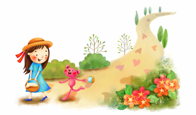 нарисованные, девочка, медвежонок, прогулка, корзинка, цветы, дорога, сердечки, лес, кусты, деревья, шляпа, лента