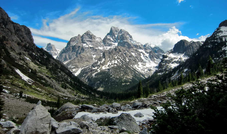 grand, teton, park, national, значок, wyoming, каньон, каскад, горы, priroda,