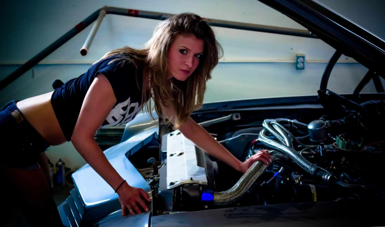 ,car,girl,двигатель, капот,
