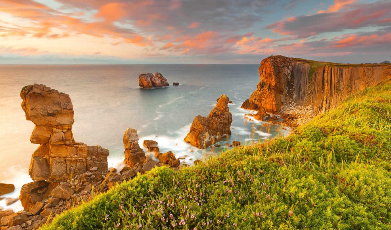 espana, пейзажи -, красивые, liencres, картинку, количество, cantabria, побережье,