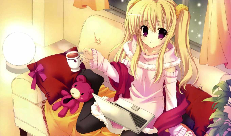 девушка, full, pictures, anime, blonde, images, blondýnka, dievča,