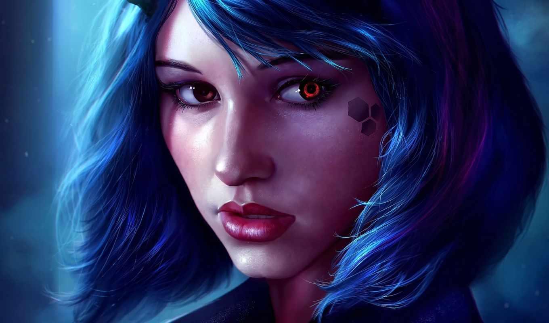 волосы, fantasy, девушка, anime, синие, лицо, очки, devushki, preview, короткие, elfy,