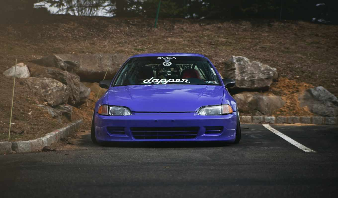 honda, civic, stance, daily, заставки, только, purple,