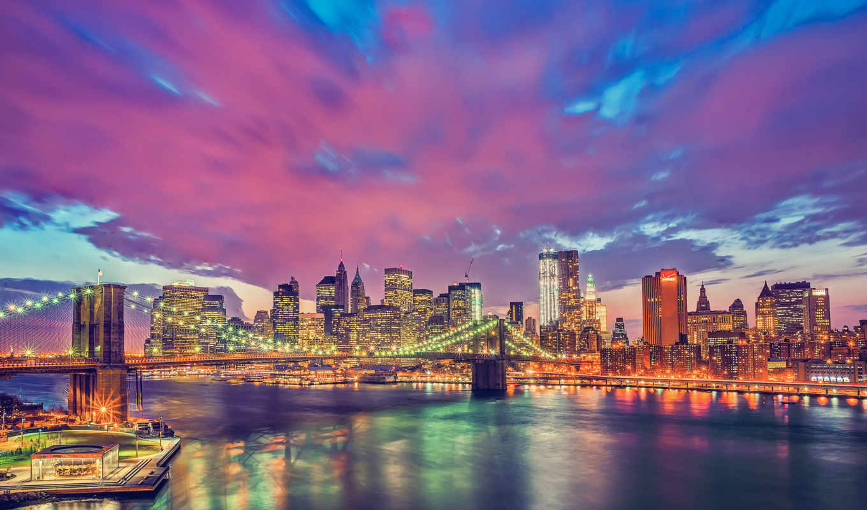 нью, york, город, ночь, йорка, manhattan, мост, nyc, new, бруклин, огни, картинка,