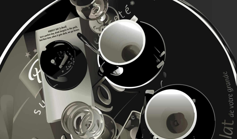 вектор, чашки, картинка, смотрите, black,