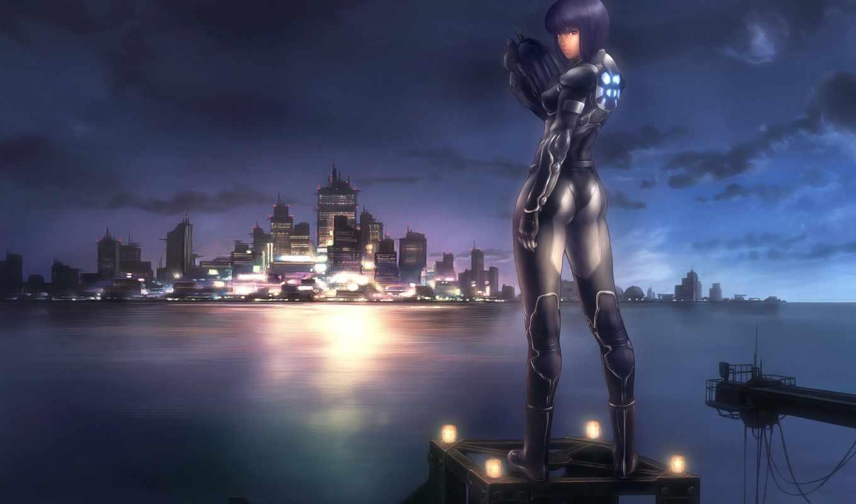 ghost, shell, девушка, город, кусанаги, games, anime, мотоко, пушка,